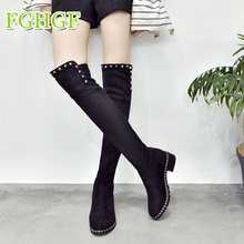 цены Women Suede Leather Over The Knee Boots Autumn Winter Rhinestone Stretch Thigh High Boots  Leather Black Booties