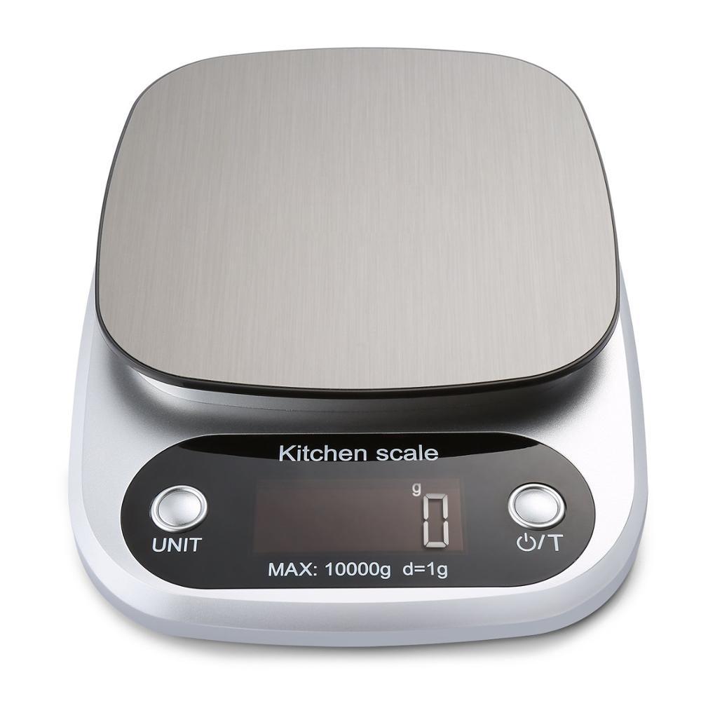 Цифровые кухонные весы, многофункциональный прибор для измерения массы, 10 кг, для приготовления пищи, с ЖК-дисплеем, серебристые-0
