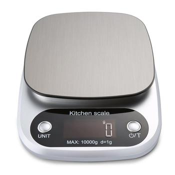 Цифровые кухонные весы, многофункциональный прибор для измерения массы, 10 кг, для приготовления пищи, с ЖК-дисплеем, серебристые