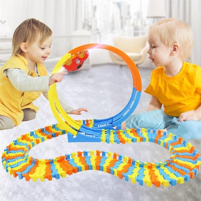 For Cool Boy Best Gift New 88PCS Track Building Blocks Car Educational Toys DIY Changeable Self-Assembled Building Blocks Bricks
