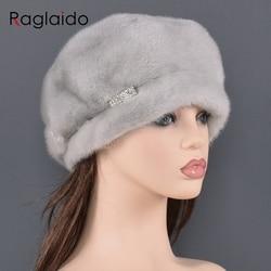 Женский берет из натурального меха норки, роскошные модные брендовые женские шапки высокого качества, сохраняющие тепло на русском зиму, же...