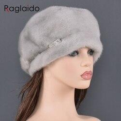 Béet en fourrure de vison naturelle pour femmes   Marque de luxe, chapeaux de haute qualité garde au chaud en hiver russe, chapeau en fourrure à motif de