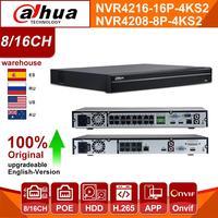 Original Dahua NVR 8CH 16CH 4K NVR4208 8P 4KS2 NVR4216 16P 4KS2 HDD PoE Port 4K H.265 SATA For IPC IP Camera Security System