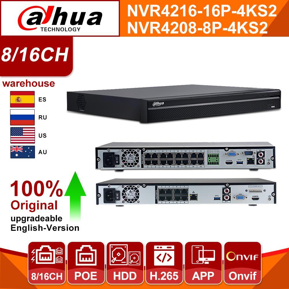 Dahua Security 8CH 4K UHD NVR H.265 POE P2P SATA HDMI NVR4208-8P-4KS2 for IPC