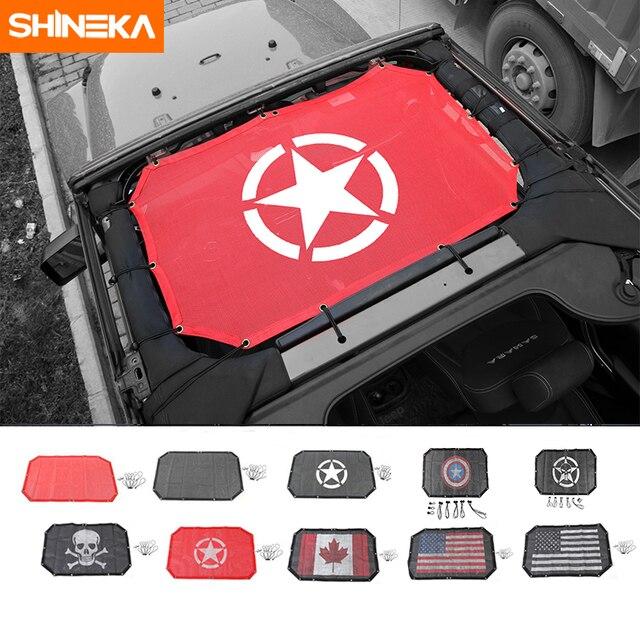 SHINEKA 2 דלתות שמשייה קדמי גג רשת ביקיני למעלה גג רשת שמש UV מגן רכב כיסוי עבור ג יפ רנגלר 2007 2017 אביזרים