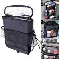 Bolsa de asiento de seguridad con cremallera, bolsa de almacenamiento con múltiples bolsillos y aislamiento térmico, organizador de viaje, accesorio para coche