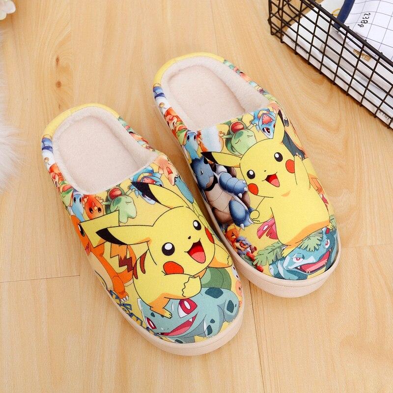 Hot Anime Games Pokemon Pikachu Blastoise Bulbasaur Shoes Cosplay Men Women Soft Plush Antiskid Indoor Home Slippers