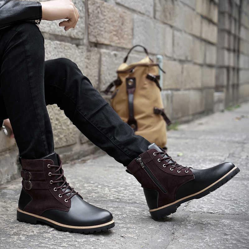 VESONAL/2019; сезон осень-зима; винтажные кожаные ботильоны; Мужская обувь; классические мужские повседневные ботинки в байкерском стиле; обувь