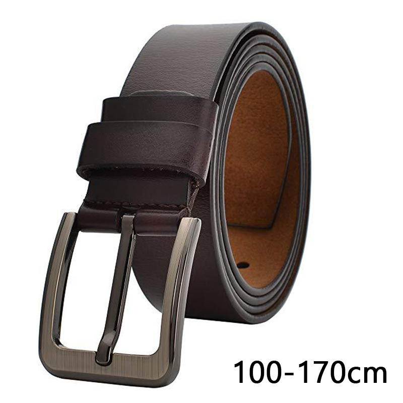 Plus Size 100 130 140 150 160 170cm Belt For Men Real Genuine Leather Belts Waistband Brown Black Pin Buckle Belt Accessories