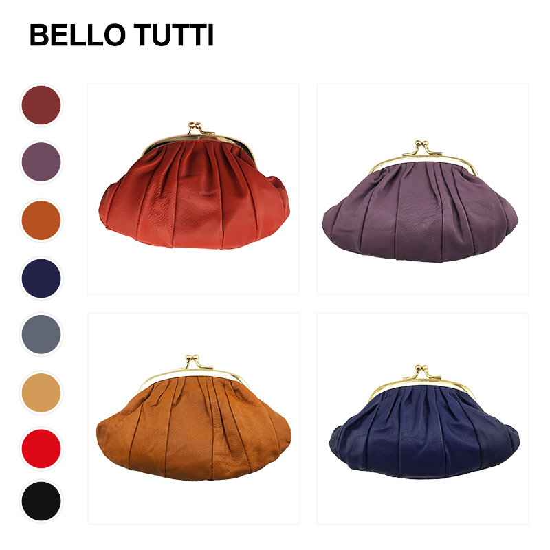 BELLO TUTTI 2019 New Women Coin Purse Genuine Leather Card Holder Small Wallet Metal Frame Change Purse Mini Money Bag For Girls
