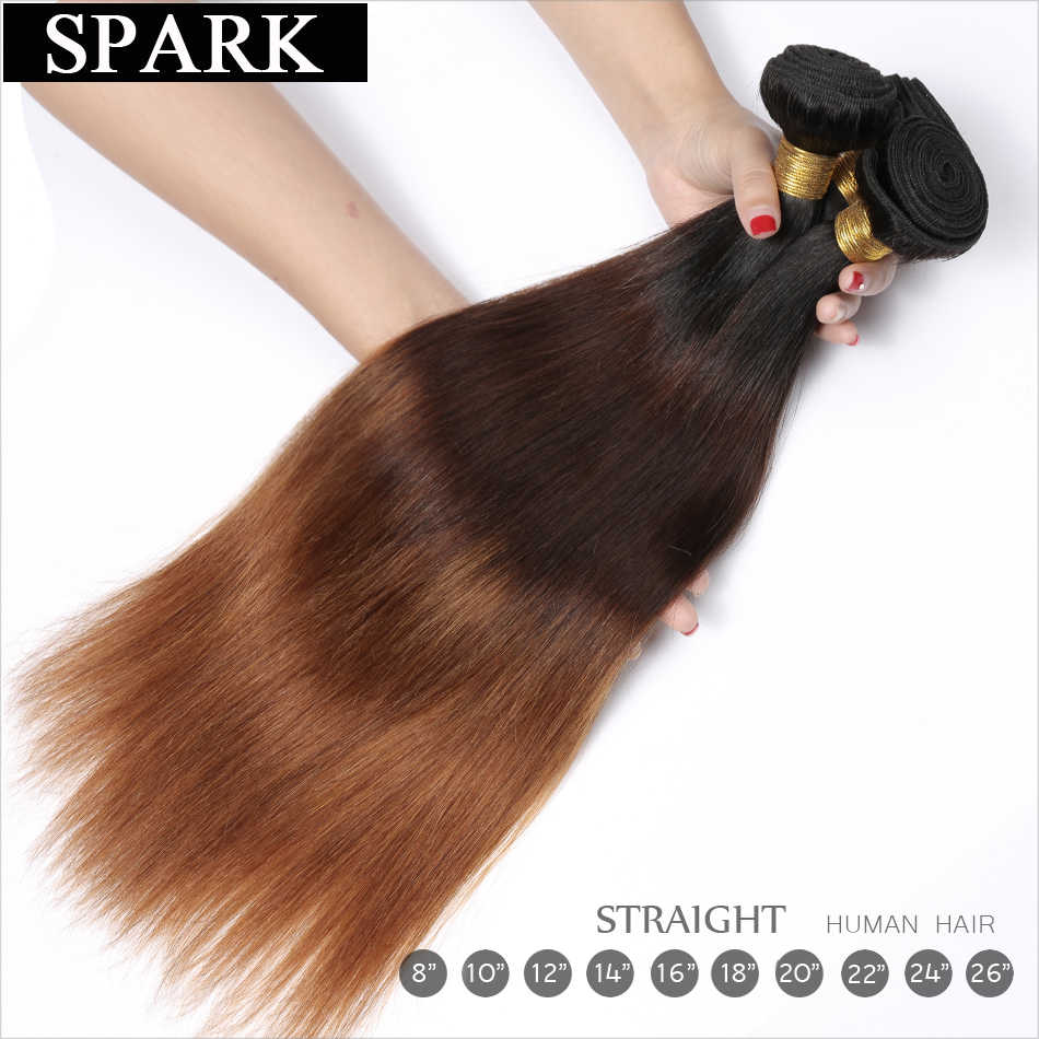 Spark бразильский Реми прямые человеческие волосы 3/4 Связки с закрытием 13*4 Кружева Фронтальные 1B/4/30 застежка с пучки волос