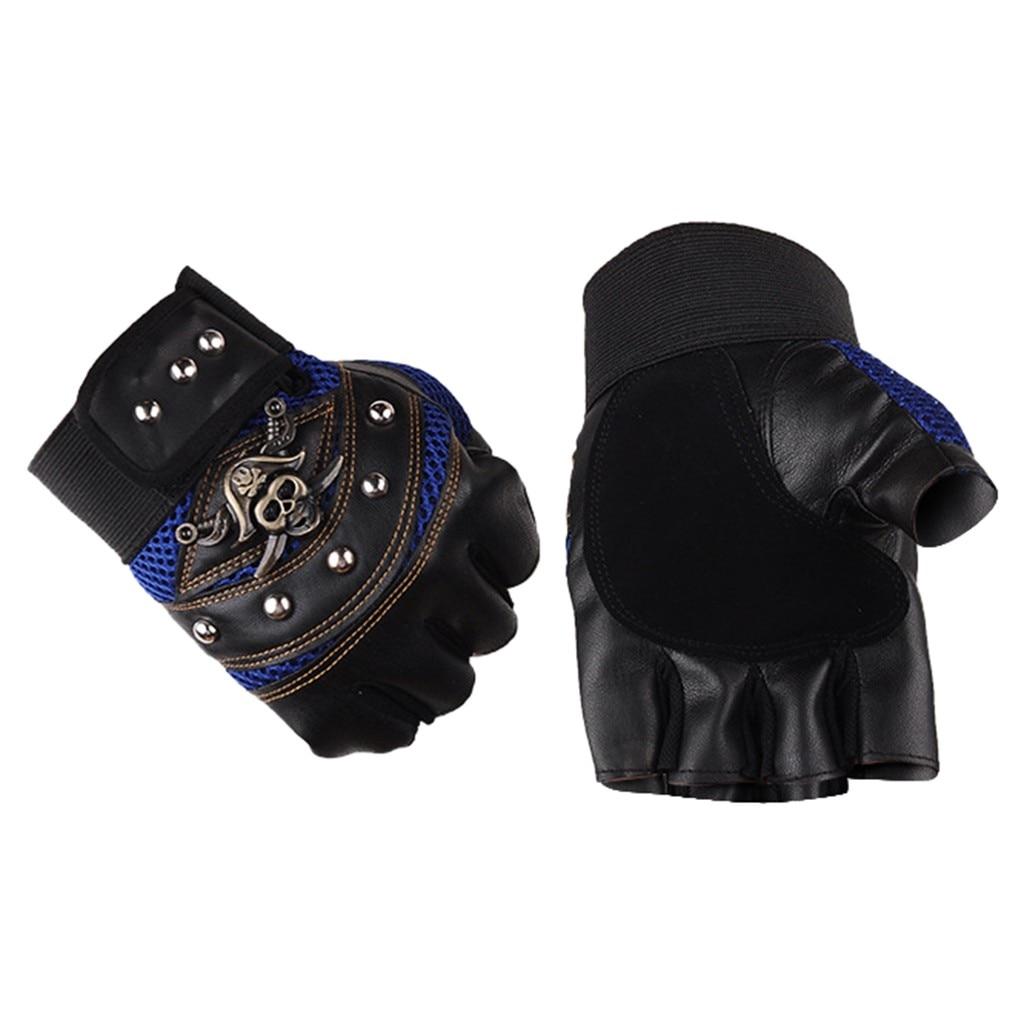 Rivet PU Leather Women/'s Gym Half Finger Fingerless Gloves Gloves Mittens
