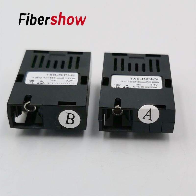 1.25G Gigabit Single Fiber SC Connector Bidi 20km 1*9 Module Optical Transceiver For 1000M Media Converter HTB-GS-03