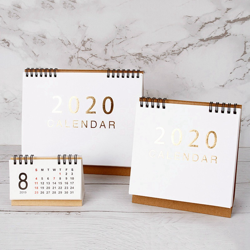New 2020  Large Medium Small Vertical Kraft Paper Calendar Simple Desktop Calendar Daily Schedule Planner Office School Supply