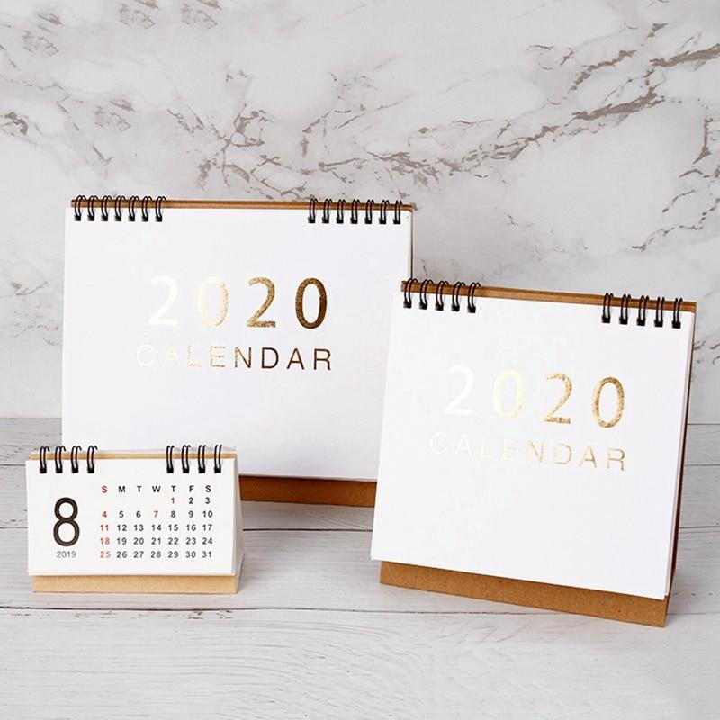 New 2020  Large Medium Small Vertical Kraft Paper Calendar Simple Desktop Calendar Daily Schedule Planner Office School Supply