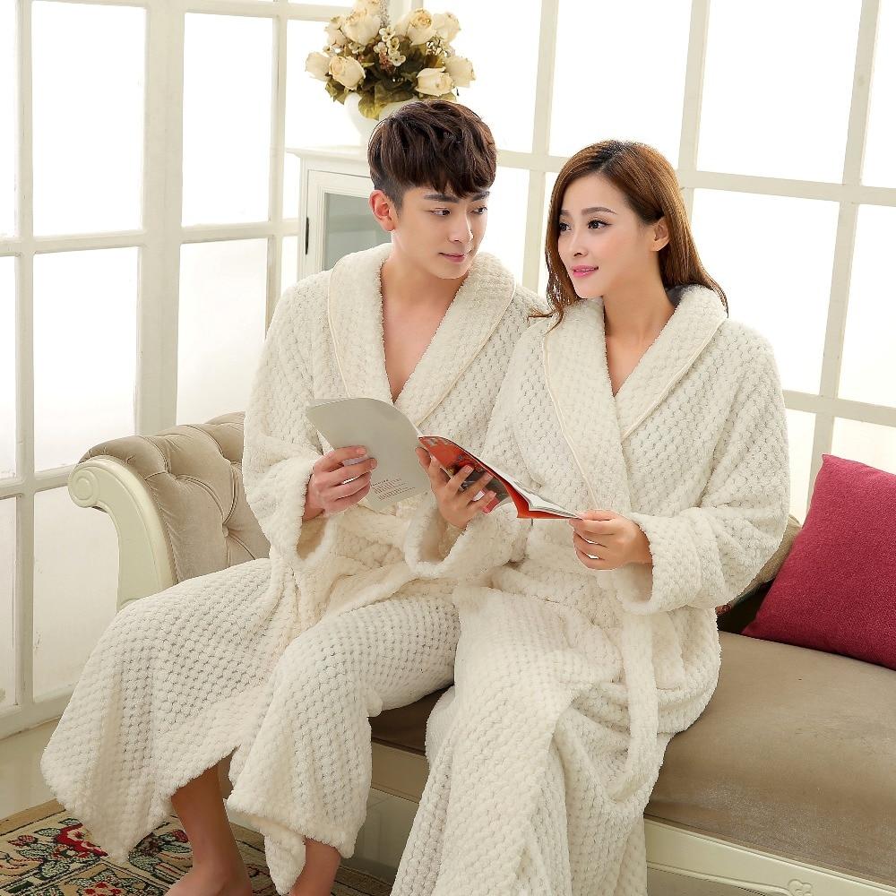 On Sale Men Full Sleeve Long Kimono Bathrobe Thick Thermal Bath Robe Male Dressing Gown Coral Fleece Robes Mens Lounge Nightwear