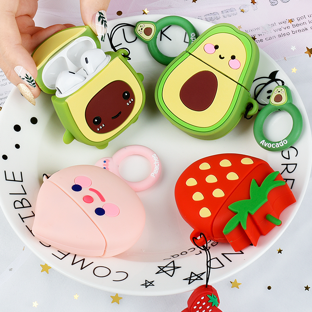 Luxury Cute 3D Avocado Cartoon Silicone Protection Headphone Earphone Case For Airpods 1 2 Accessories Cover bag Coque Funda