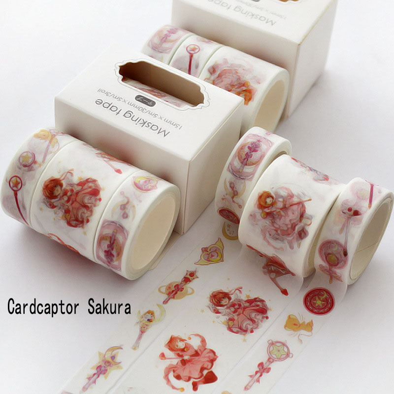 3pcs/box Lovely Bullet Journal Washi Tape Set Cardcaptor Sakura Cute Masking Tape DIY Decorative Scrapbooking Office Supplies