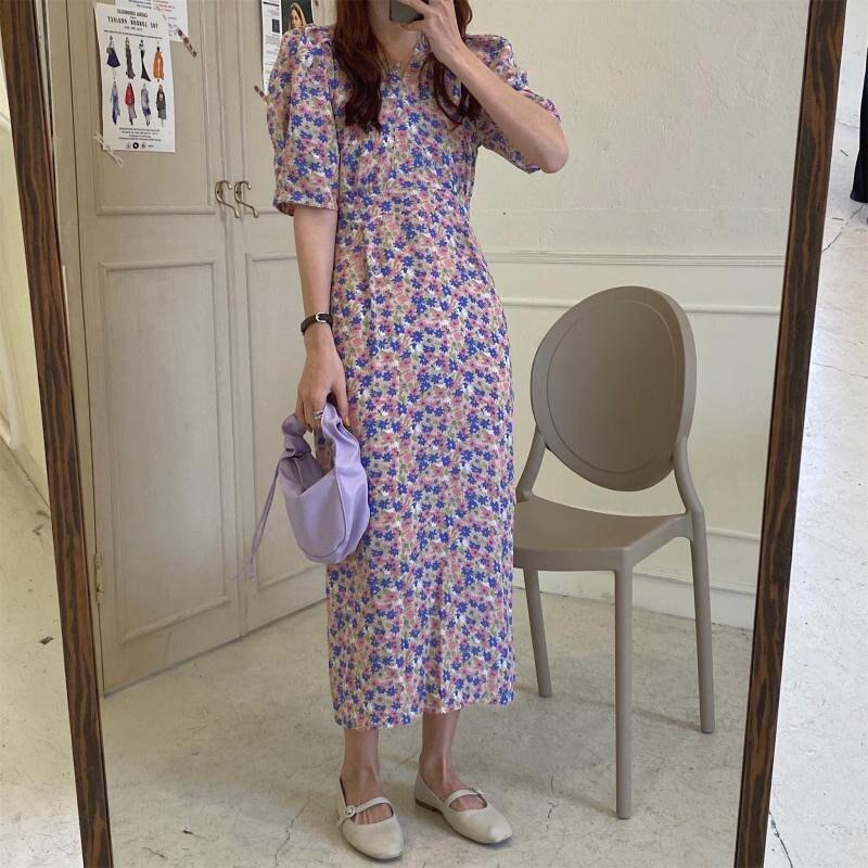 cintura alta vestido fino com decote em 02