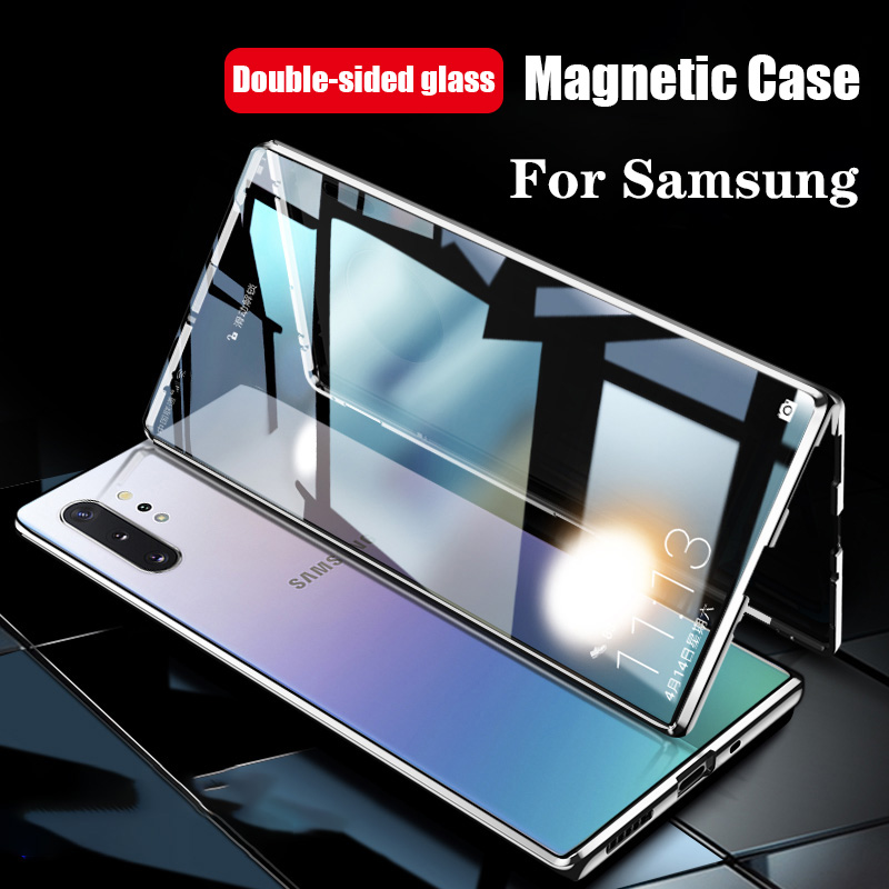 360 Magnetic Metal Case For Samsung Galaxy S20 S10 S9 S8 Plus S10E Double-Side Glass For Note 10 8 9 Plus A51 A71 A50 A70 Cover