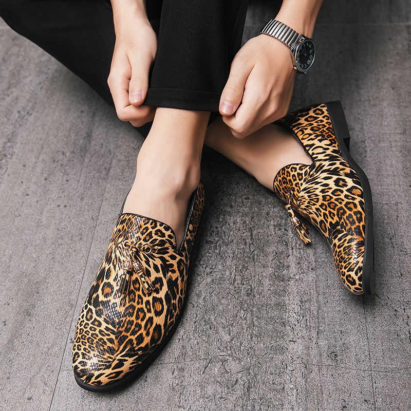 2020 erkek ayakkabı zapatos hombr İngiliz sonbahar deri platform ayakkabılar leopar baskılı erkekler kaliteli elbise ayakkabı oxfords düğün için