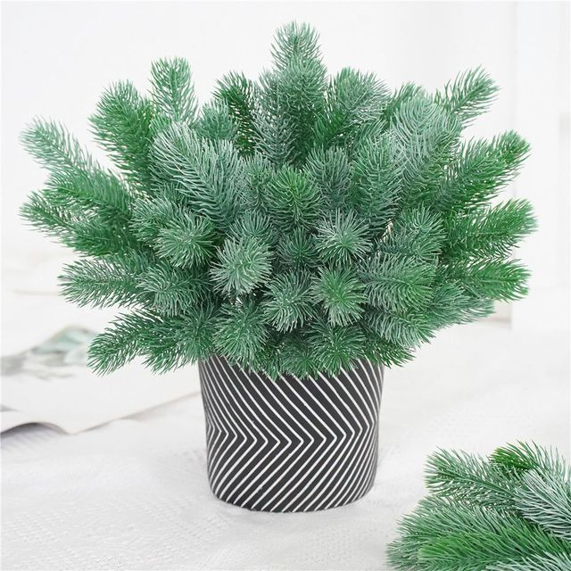 16 Fork Pine Needle Branches Artificial Pine Fake Flowers Plants Christmas Tree Wedding Decor DIY Handcraft Children Gift 3