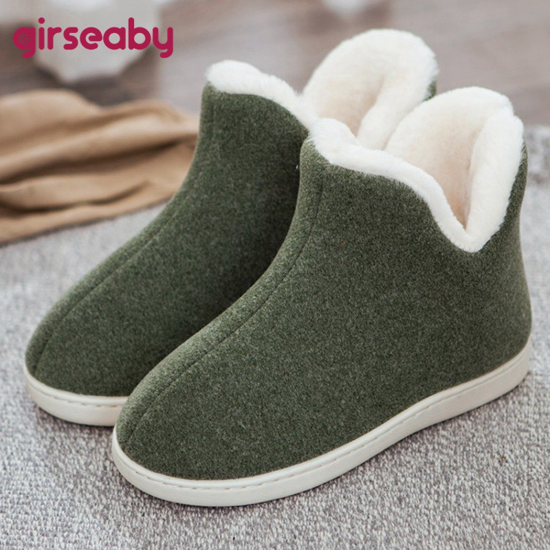 Girseaby Couples cute floor shoes unisex home boots cotton warm women's winter boots female ankle boots for women feminina botas