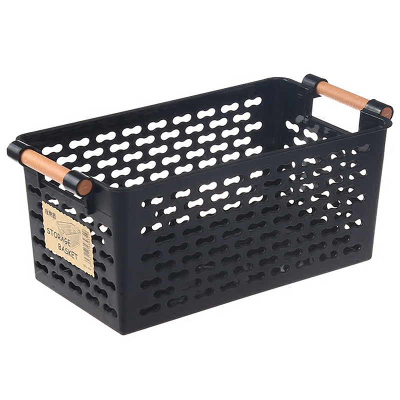 Plastic Desktop Storage Basket Rectangular Bathroom Portable Storage Box Bath Basket Kitchen Debris Multi-Purpose Baskets Black