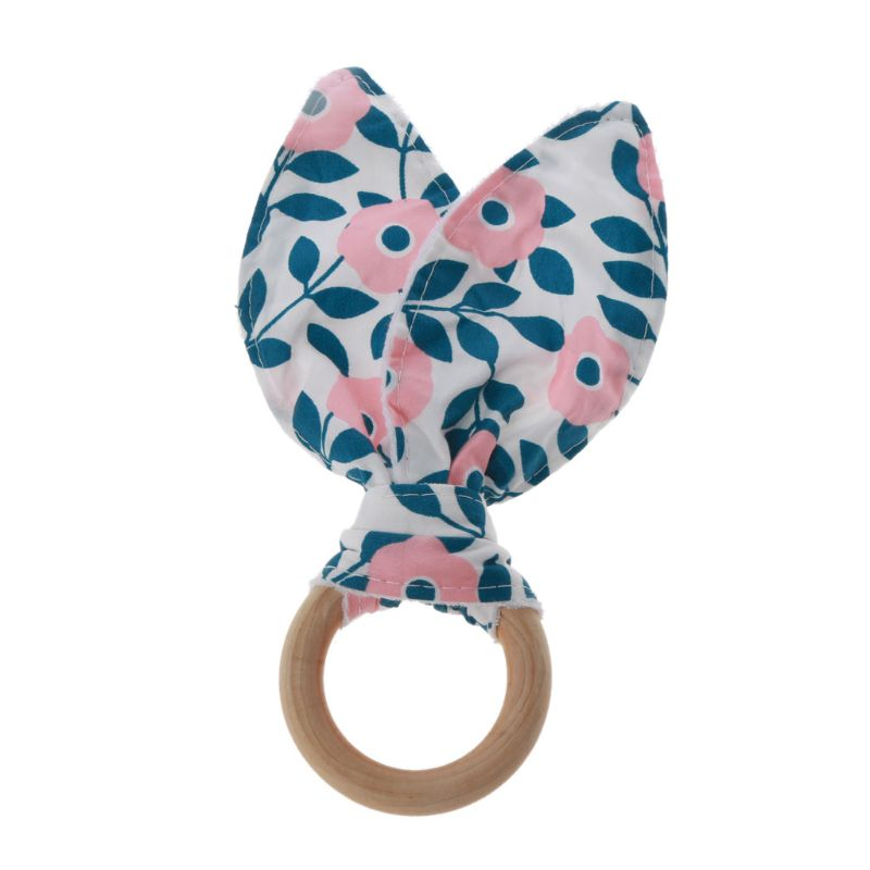 Baby Boy Girl Bunny Ear Teether Safe Organic Wood Teething Ring Toys Various Color Choice Shower Gift 63HE