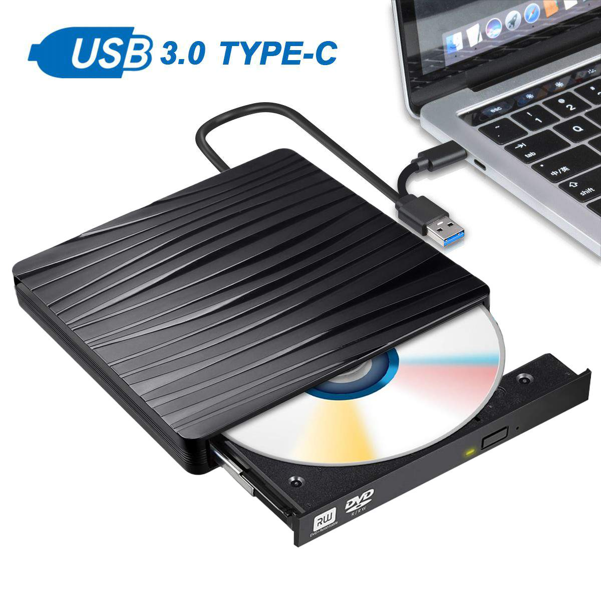 <font><b>USB</b></font> <font><b>3.0</b></font> Type-c External CD <font><b>DVD</b></font> Rom RW Player Burner <font><b>Drive</b></font> For MacBook Air ProS For iMac/Win8 Laptop Notebook PC Computer image