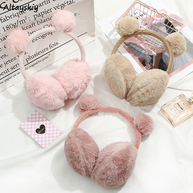 Earmuffs Women 2020 New Elegant Solid Color Girls Warm Korean Style Kawaii Pink Womens Trendy Lovley Autumn Winter Fashion Chic