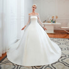 Elegant Ball Gown Wedding Dresses 2020 robe de mariee Long Sleeve Wedding Gowns Lace Satin Real Photo Bridal Dress Handmade(China)