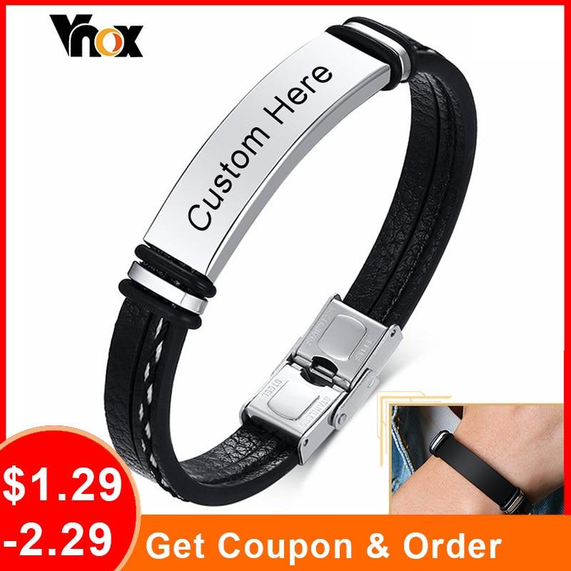 Vnox 12mm özel siyah deri erkekler kadınlar için bilezikler, katmanlı dikili deri paslanmaz çelik bileklik, rahat bileklik