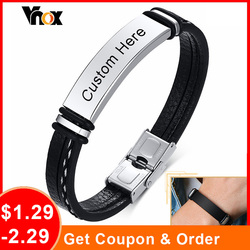 Vnox 12mm Customize Black Leather Bracelets for Men Women, Layered Sewed Leather with Stainless Steel Bangle,Casual Wristband