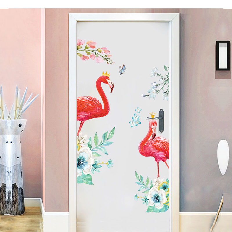 Love Flamingos Wall Stickers For Living Room Home Decora Background Door Stickers Plane Animal Mural Wallpaper Rushedнаклейки н