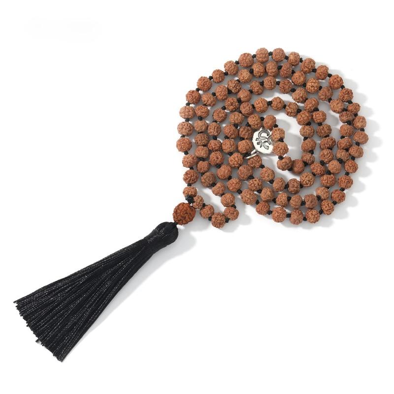 108 natural rudraksha mala contas yoga meditação borla japamala colar para as mulheres pingente com borla preta