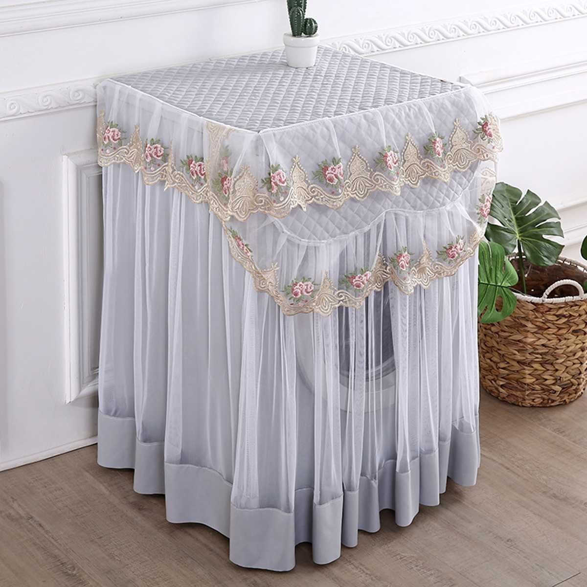 Romantic Lace Washing Machine Cover Dustproof Embroidery Floral Home Decor Protector Washing Machine Covers 60*60*85cm