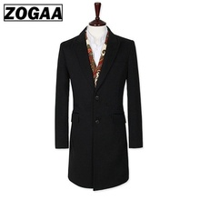 ZOGAA Mens Trench Coat Turn Down Collar Long Sleeve Man Cardigan Outerwear Windbreaker Casual Slim Fit Business Clothes