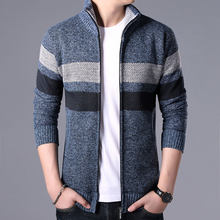 New Autumn Winter Patchwork Sweater Coat Men Warm Zipper Cardigan Sweater Men Coat Dress Casual Knitwear Male Clothes(China)