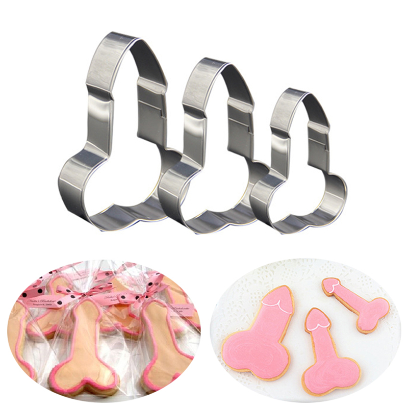 3 Pcs Stainless Dick Penis Cookie Cutter Ice Mold Baking Biscuit Fondant Cake Mould DIY Kitchen Baking Decoration Tools Waffles