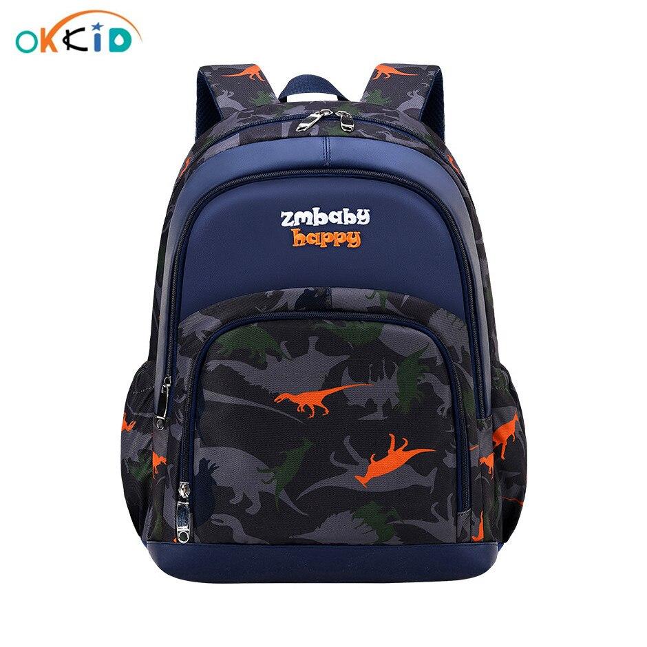 OKKID Luminous School Bags For Teenagers Boys Student Waterproof Nylon School Backpack Boy Gift Big Capacity Dinasour Book Bag