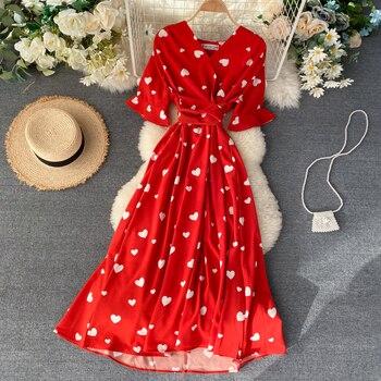 Slim 2021 Vintage amor corazón impresión vendaje de cuello V Vestido de...