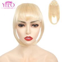 Human-Hair-Extensions Bangs Hair-Topper Clip-In YELO Remy-Hair 1b -613 27/613 -4 -2