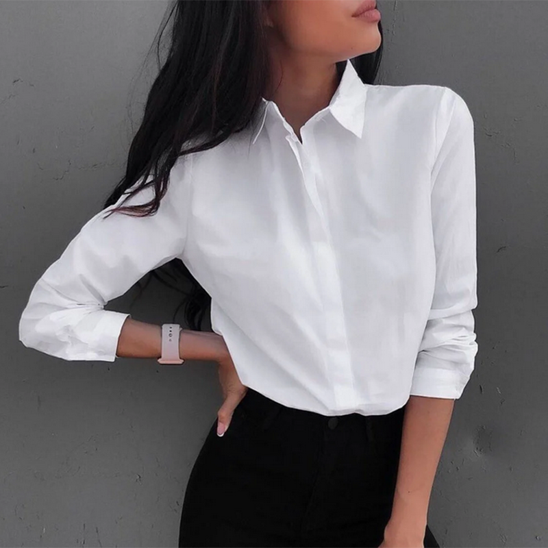 Women Shirts And Blouses 2020 Feminine Blouse Top Long Sleeve Casual White Turn-down Collar OL Style Women Loose Blouses