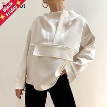 InstaHot-Sudadera con capucha para mujer, ropa informal suelta con dobladillo asimétrico de gran tamaño, color blanco y negro, Tops de otoño