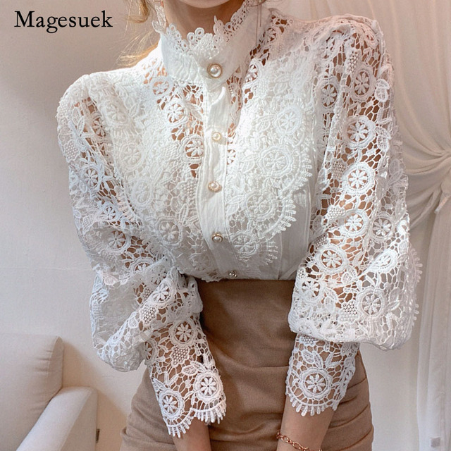 Petal Sleeve Stand Collar Hollow Out Flower Lace Patchwork Shirt Femme Blusas All-match Women Blouse Chic Button White Top 12419 1