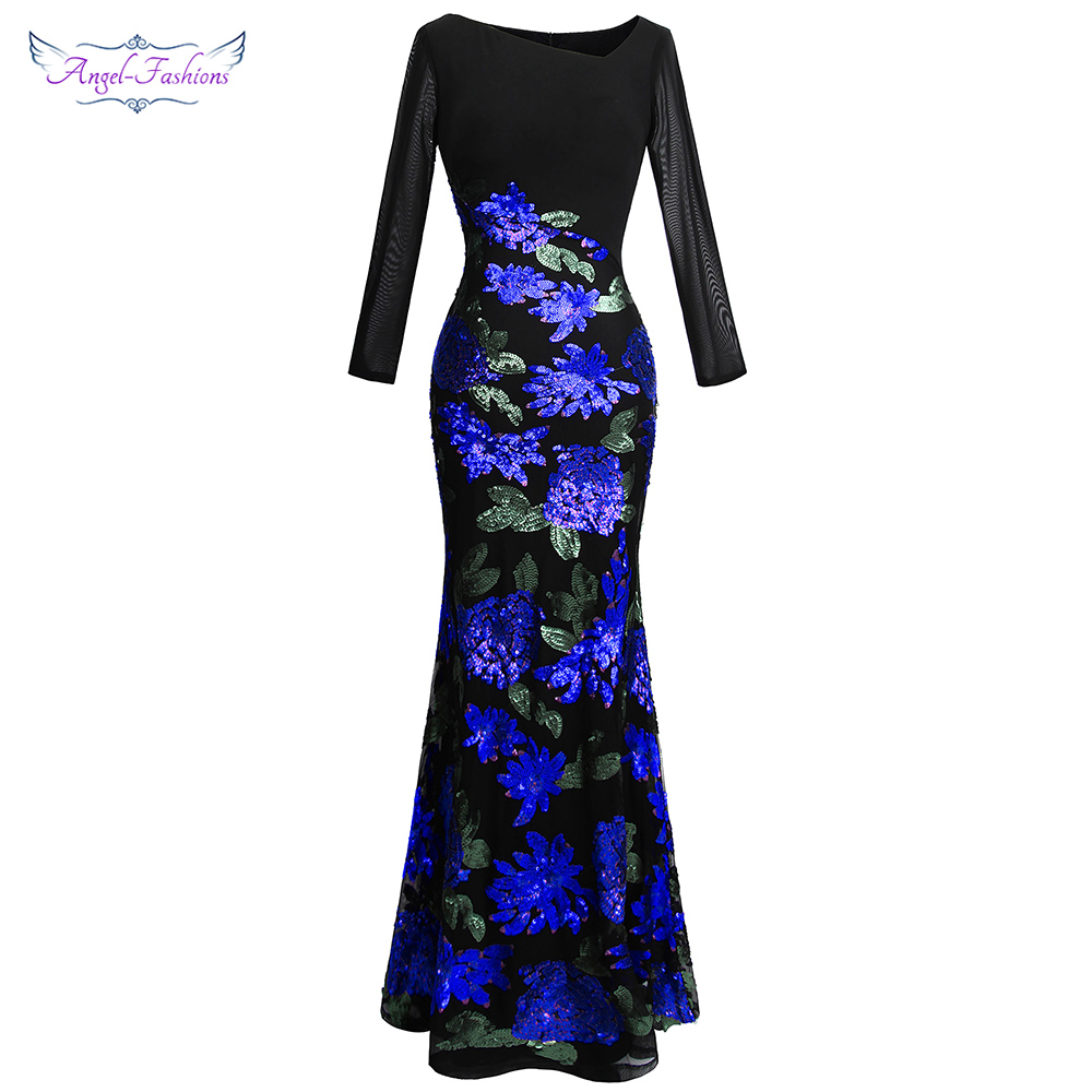 Angel-fashions Women's Long Sleeve Pattern Blue Flower Sequin Beading Evening Dress 396