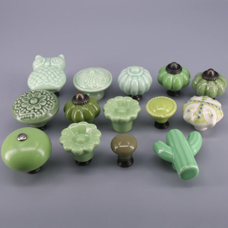 1x Hot sale furniture Knobs Ceramic Handle Kids Desk Pulls Drawer Dresser Closet handle