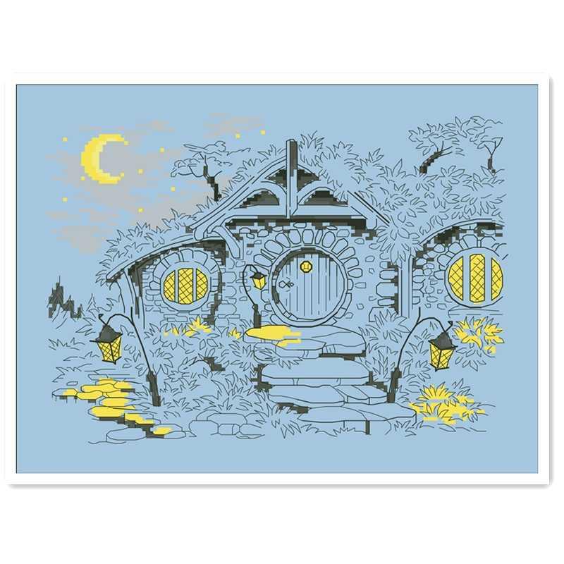 Moonlight Magic House zestaw do haftu krzyżykowego cartoon 14ct 11ct niebieski zestaw do haftowania bez nadruku DIY handmade robótki ręczne