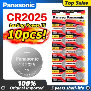 Panasonic  10PCS/LOT cr 2025 3V Lithium cr2025 Button Cell Batteries Coin Battery For LED Lights Toys Watches ycdc 5pcs cr1632 cr1632 ecr1632 dl1632 kcr1632 lm1632 3v lithium li ion battery cell button toys 1632 batteries card retail lot